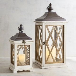 White & Brown Wooden Lanterns
