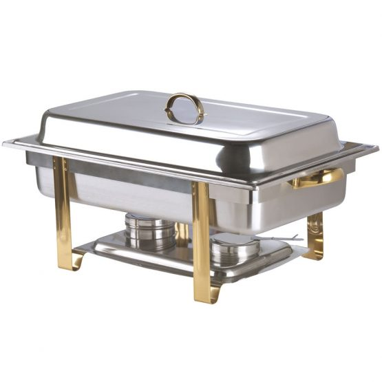 Stainless Chafer with Gold Handles 8 Qts.