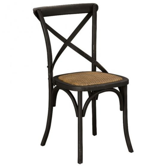 Black Cross Back Chair with Wicker Seat