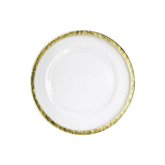 Gold Rim Hammered Glass Charger