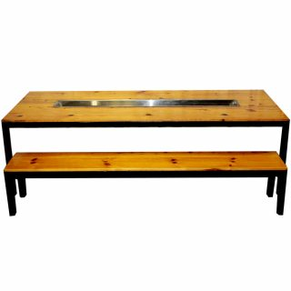 Blond Wood Trough Table With Benches