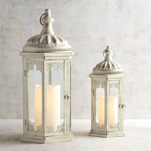 Antique White Metal Lanterns