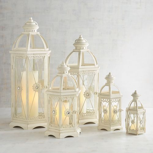 Jeweled White Metal Lanterns