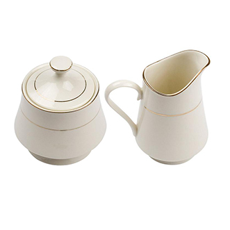 Ivory And Gold Rim Sugar And Creamer Set