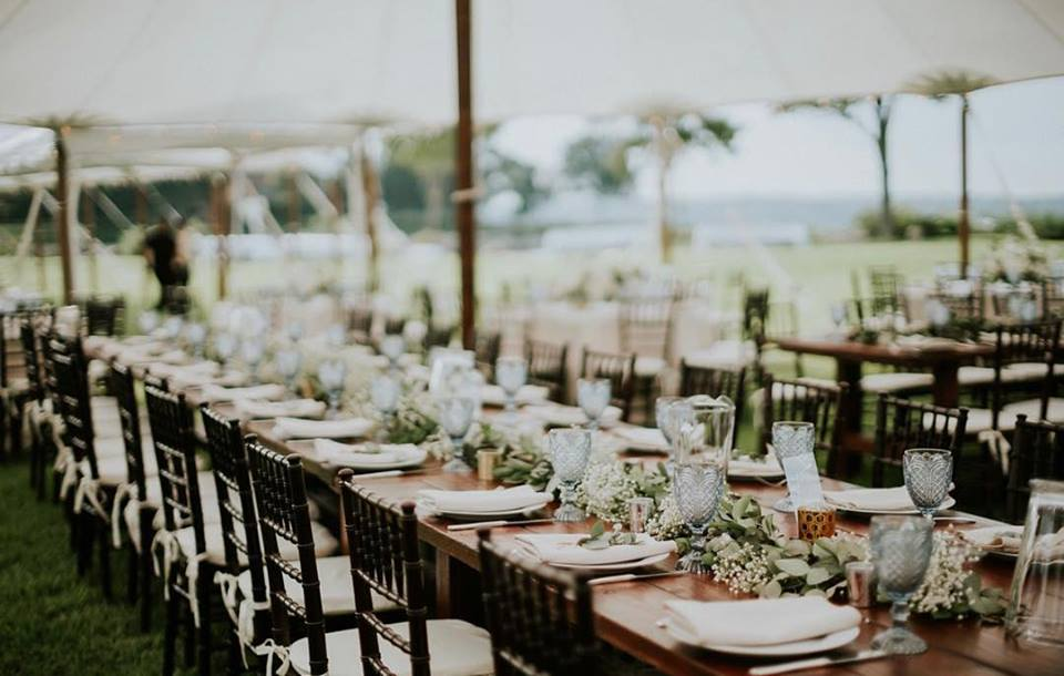 Sail Cloth Tents, Tables, Chairs, Linens, China, Glassware, Flatware