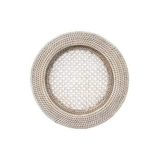 """12"""" White Wash Rattan Charger"""