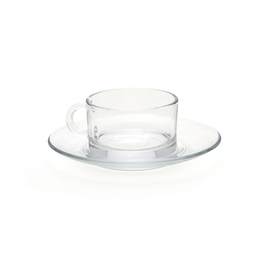 Clear Glass Demitasse Cup and Saucer