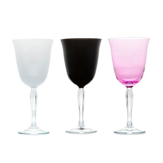 WHITE BLACK AND PINK GOBLET