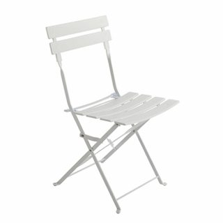 White Metal Slotted Café Chairs