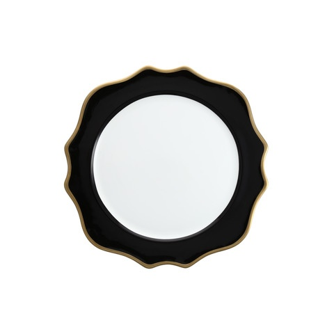 """12"""" Black with Gold Rim Trieste Charger"""